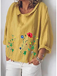 cheap -Women's Plus Size Tops Blouse Florals Long Sleeve Round Neck Casual Dailywear Date Cotton And Linen Fall Winter A large number of spot colors and codes Shipped on the same day, welcome to shelves