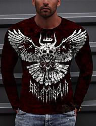 cheap -Men's Unisex Tee T shirt Shirt 3D Print Graphic Prints Skull Wings Print Long Sleeve Daily Tops Casual Designer Big and Tall Black