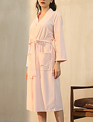 cheap -Women's Plus Size Warm Robes Gown Bathrobes Home Party Daily Spa Basic Pure Color Polyester Plush Simple Casual Soft Spring Summer V Wire Long Sleeve Lace Up Belt Included / Kimono Robes