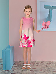 cheap -Kids Little Girls' Dress Butterfly Graphic Florals Flower Casual Print Blushing Pink Asymmetrical Sleeveless 3D Print Cute Dresses Loose 3-10 Years / Animal