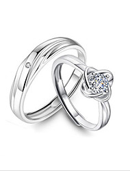 cheap -Couple Rings AAA Cubic Zirconia Solitaire Silver Zircon S925 Sterling Silver Clover Stylish Unique Design Elegant 2pcs Adjustable / Couple's / Adjustable Ring