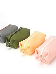 cheap -Solid Silica Gel Cosmetic Bag Women's Waterproof Storage Bag Hand Bag Waterproof Bag Military Green Washing Storage Bag Customized