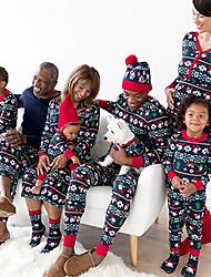 cheap -Christmas Pajamas Family Look Santa Claus Christmas Tree Christmas pattern Print Black Long Sleeve Active Matching Outfits / Fall / Winter / Casual