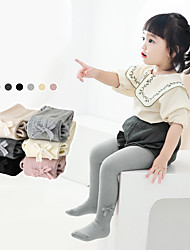 cheap -Baby Girls' Tights 1pc Blushing Pink off-white Light Gray Solid Color Ribbon bow Cotton Daily Wear Casual Socks 6 Months+