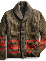 cheap -Men's Unisex Cardigan Knitted Striped Stylish Vintage Style Long Sleeve Sweater Cardigans V Neck Fall Winter Large amount of spot long-term supply Army Green