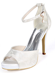 cheap -Women's Wedding Shoes Stiletto Heel Peep Toe Wedding Sandals Wedding Lace Pearl Floral Light Purple Ivory White