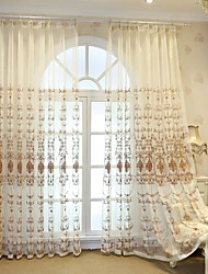 cheap -Semi Sheer Window Curtain Window Treatments Two Panel European Style Embroidered Window Screen Living Room Bedroom Dining Room Children's Room Translucent Tulle