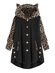 cheap -Women's Teddy Coat Home Causal Indoor Fall Winter Short Coat Regular Fit Warm Active Casual Jacket Long Sleeve Leopard Print Split Pocket ArmyGreen Factory direct sales in large quantities ★★★Add new