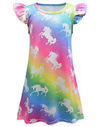 cheap -Kids Little Girls' Dress Unicorn colour Animal A Line Dress Birthday Casual Print Rainbow Maxi Short Sleeve Princess Cute Dresses Summer Regular Fit 2-8 Years