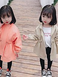 cheap -Kid's Girls' Jacket & Coat khaki Orange Solid Color Cotton Cute 3-8 Years / Fall / Spring