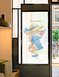 cheap -Cartoon Girl Pattern Matte Window Film Cling Vinyl Thermal-Insulation Privacy Protection Home Decor For Window Cabinet Door Sticker Window Sticker - 116*60CM