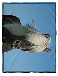 cheap -Microfiber Throw Blanket All Season For Couch Chair Sofa Bed Picnic 3D Print Horses Animals Soft Fluffy Warm Cozy Plush Autumn Winter