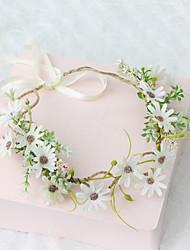 cheap -Fresh Flower Wreath Headdress Hand-woven Fabric Small Daisy Flower Rattan Corolla Spring Fairy Photo Outdoor Hair Accessories