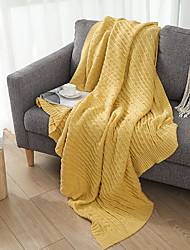 cheap -Cotton Throw Blanket All Season For Couch Chair Sofa Bed Picnic Cable Knit Handmade Nordic Rustic Style Solid Soft Fluffy Warm Cozy Plush Autumn Winter 120*180cm