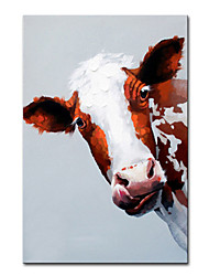 cheap -Oil Painting Handmade Hand Painted Wall Art Vertical Modern Cute Cow Animal Home Decoration Decor Rolled Canvas No Frame Unstretched
