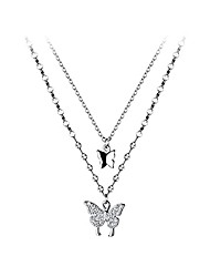 cheap -925 sterling silver cz butterfly choker necklace for women teen girls butterfly layered necklace chain (a-silver)