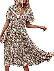 cheap -Women's A Line Dress Knee Length Dress Blue floral Green floral Yellow floral White Floral Short Sleeve Flower / Floral Patchwork Print Spring Summer V Neck Casual Regular Fit 2021 S M L XL