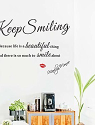 cheap -keep smiling with red lip wall stickers vinyl inspirational lettering wall decals for bedroom living room couch decor