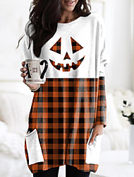 cheap -Women's Halloween Abstract Painting T shirt Plaid Pumpkin Long Sleeve Pocket Print Round Neck Basic Halloween Tops Orange / 3D Print