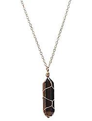 cheap -hexagonal natural quartz crystal pendant amethyst rose quartz aventurine clear quartz tiger stone pendant necklace with 14k plated gold necklace