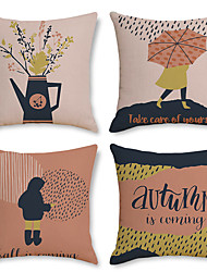 cheap -Fall Double Side Cushion Cover 4PC Soft Decorative Throw Pillow Cover Cushion Case Pillowcase for Bedroom Livingroom Superior Quality Machine Washable Indoor Cushion for Sofa Couch Bed Chair