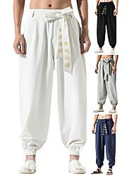 cheap -Men's Yoga Pants Drawstring Cropped Pants Harem Hippie Trousers  Aladdin Boho Baggy Pants Bohemian Pants Drop Trousers Adjustable Length Fitness Gym Workout Sports Casual Bottoms Black White Grey