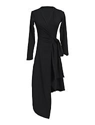 cheap -Latin Dance Dress Cinch Cord Women's Performance Long Sleeve Natural Other Cotton