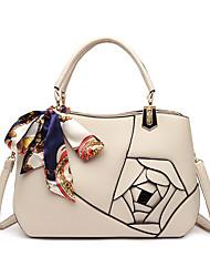 cheap -Women's Bags PU Leather Top Handle Bag Zipper Flower Daily Office & Career 2021 Handbags Yellow Gray White Black