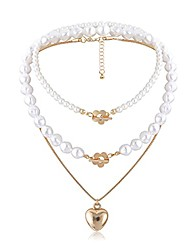 cheap -layered pearl necklace gold heart pendant choker set flower ot clasp jewelry accessories for women and girls