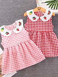 cheap -[80-110cm] girl's sweet plaid lapel sleeveless dress