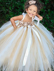 cheap -A-Line Floor Length Flower Girl Dresses Party Chiffon Sleeveless Spaghetti Strap with Appliques
