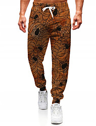 cheap -Men's Novelty Designer Casual / Sporty Big and Tall Breathable Sports Jogger Pants Sweatpants Trousers Halloween Daily Pants Graphic Prints Spider Spider web Full Length Drawstring Elastic Waist
