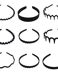 cheap -9 Pcs/Set Fashion Mens Women Unisex Black Wavy Hair Head Hoop Band Sports Headband Hairband Hair Accessories