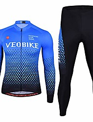 cheap -mens cycling clothing set long sleeve outdoor sport bicycle bike suit jerseys pants 3d padded,blue,xxl