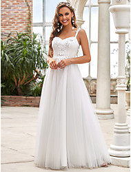 cheap -A-Line Wedding Dresses Sweetheart Neckline Floor Length Lace Tulle Sleeveless Romantic Simple with Lace Draping Appliques 2021