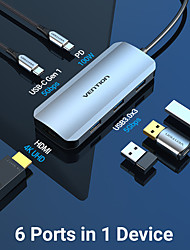 cheap -VENTION Support Power Delivery Function TOFHB USB 3.0 USB C to USB 3.0 USB 3.0 USB C HDMI USB Hub 6 Ports For Windows, PC, Laptop