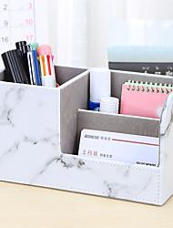 cheap -Office Desktop Stationery Storage Box Compartment Simple Plastic Pen Holder 20.3*9.3*11cm