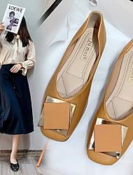 cheap -Women's Flats Flat Heel Round Toe PU Solid Colored Yellow Black Beige