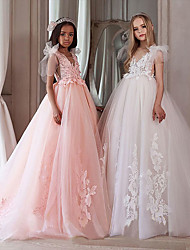 cheap -A-Line Floor Length Flower Girl Dresses Party Chiffon Sleeveless V Neck with Appliques
