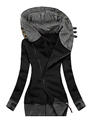 cheap -Women's Parka Holiday Fishing Climbing Fall Winter Long Coat Hooded Slim Fit Windproof Warm Basic Casual Jacket Long Sleeve Multi Color Pocket Button Light Gray Black Navy Blue / Cotton