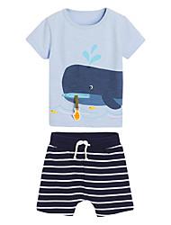 cheap -Kid's Boys' T-shirt & Shorts 2 Pieces Short Sleeve 20601 Cartoon Stripes Cotton Chic & Modern