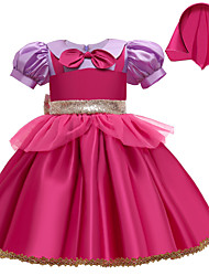 cheap -Kids Little Girls' Dress Multi Color Ribbon bow Party / Evening Rose Red Short Sleeve Cosplay Dresses All Seasons 2-9 Years / Cotton