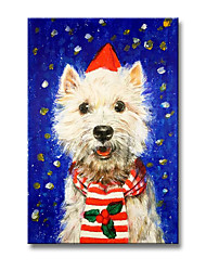 cheap -Christmas Oil Painting Handmade Hand Painted Wall Art Holiday Cartoon Animal Puppy Home Decoration Decor Rolled Canvas No Frame Unstretched