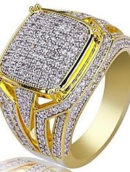 cheap -Full Diamond Rich Long Men's Band Ring Geometrical Gold Zircon Copper Gold Plated Precious Fashion Vintage 1pc