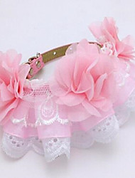 cheap -Dog Pets Collar Adjustable Flower PU Leather Pink 1pc