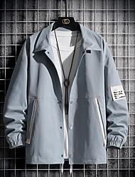 cheap -Men's Jacket Daily Fall Spring Regular Coat Regular Fit Windproof Warm Quick Dry Casual Jacket Long Sleeve Letter Print Dark Grey Light Grey Black