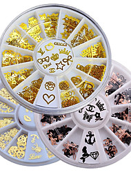 cheap -3 Box/Set Nail Computer Piece Decoration Turntable Butterfly Love Gold Metal Patch