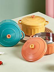 cheap -Stainless Steel Double Ear Bowl Enamel Pot Design Macaron Style Lunch Box Noodle Bowl Meal Prep