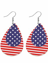 cheap -keychin god bless america patriotic independence day earrings patriotic 4th of july gift american flag leather earrings patriotic jewelry for women (double-deck earrings)