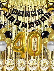 cheap -Black Gold Birthday Balloon Set Adult Birthday Party Decoration Package 19 Years Old 30 Years Old 40 Years Old